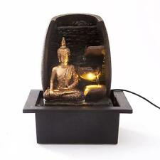 Indoor LED Light Tabletop Fountain Golden Buddha Calming Feng Shui Water Feature
