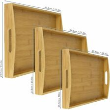 Set of 3 Bamboo Serving Trays Raised Edges, Lightweight & Carry Handles M&W