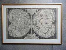 Gerardus Mercator Cordiform Map of the World 1538. Facsimile c1950