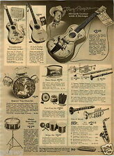 """1964 PAPER AD Roy Rogers 30"""" Guitar Mickey Mouse Radio 2 Transistors Ear Dials"""