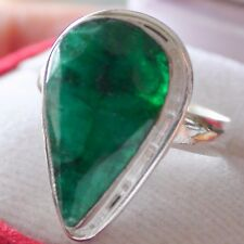 BIG! NATURAL GREEN EMERALD 11.00 ct RING 925 STERLING SILVER.SIZE 9.25.