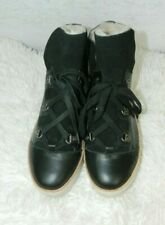 M4DE Booties Black Leather Sherpa Real Fur Boots Size 7M