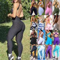 Women Anti Cellulite Yoga Jumpsuits Pants High Waist Butt Lift Workout Leggings