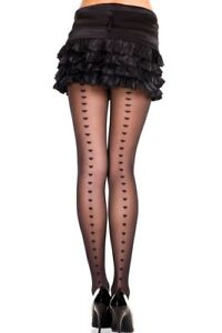 ML-7279 Sexy Spandex Hearts Backseam Black Sheer Pantyhose Hosiery