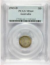 1943-D Australia 3 Three Pence Silver Coin - PCGS MS 64 Graded - KM# 37