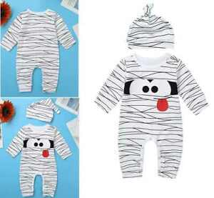 Boys Girls Pajama Romper Sleepwear Long Sleeves Animal Printed Striped Outfits