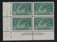 Canada Sc #272 (1946) 50c Logging LL Plate Block Mint VF NH MNH