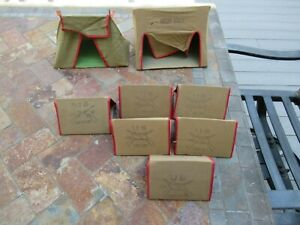 Vintage Cast Iron / Lead Soldiers Carboard & Cloth Military Tents.