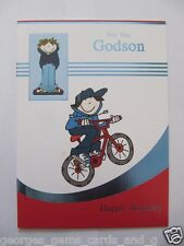 FANTASTIC COLOURFUL BMX RIDER FOR YOU GODSON ON YOUR BIRTHDAY GREETING CARD