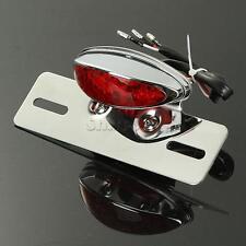 Chrome LED Brake Tail Light For Motorcycle Harley Chopper License Plate Bracket