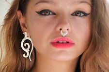 Exotic Dangle Earrings Carved Handmade Horn Bone Wood Buffalo Fake Gauge Posts
