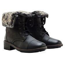 Redfoot Women's UK 3 EU 36 Black Warm Faux Fur Lined Zip/Lace Up Leather Boots