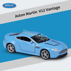 WELLY 1:36 Aston Martin V12 Vantage Blue Diecast Pull Back Car Model Collection