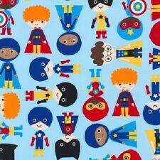 Robert Kaufman tejido de algodón. Super Kids Boys Blue. Aventura. Comic. por la Fq