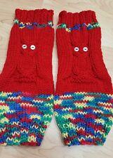 Handmade Crochet Leg Warmers Boot Cuffs Boot Toppers Cute Owls Red / Rainbow
