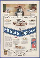 Vintage 1917 MINUTE Tapioca Food Kitchen Art Decor Ephemera Print Ad