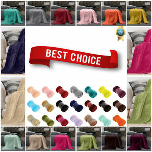 Luxury Faux Fur Mink Throw Warm & Super Soft Plain Large Bed Blanket Sofa Settee