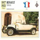 Renault Type EU 4 Cyl. Décapotable 1917-1921 France CAR VOITURE CARTE CARD FICHE