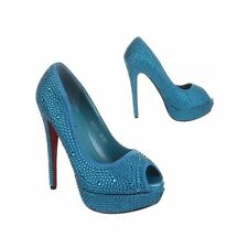 59847 Decollete Sera Peep Toe Spuntate Turchese Blu con Strass Tacco Alto 14 cm