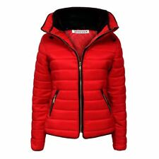 New Womens Kids Quilted Puffer Bubble Padded Jacket Fur Collar Zip Up Warm Coat