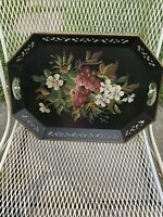 Vintage Toleware Tray Octagon shape Black with floral And Grapes  design