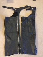 USA Bikers Dream Apparel Motorcycle Chaps Black Leather Size Large with Pocket