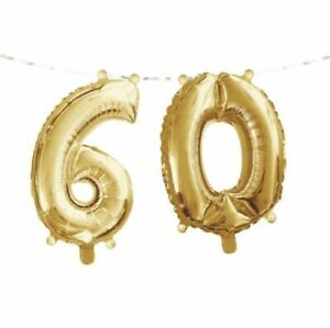"""Gold 60th Birthday Banner 16"""" x 5' Foil Number Supplies Balloon Decoration"""