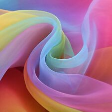 16 Feet by 54 Inch Rainbow Organza Multicolored Voile Dress Fabric Fancy Costume