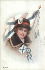Beautiful Woman Country National Series Flag Russia c1915 Postcard