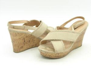 Lane Bryant Tan Fabric High Heel Cork Wedge Platform Slingback Sandals GUC 12W