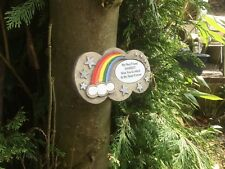Personalised Rainbow Bridge Stone Memorial for Pet with Shiny Stars for Garden