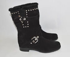 New! Stuart Weitzman 'Furtrot' Studded Suede Bootie Nero Black Size 8.5