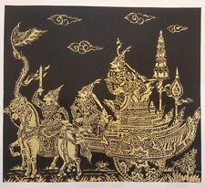 Black Thai Art Silk Paintings Handmade Gold Rama Ramayana Poster Wall Home Decor