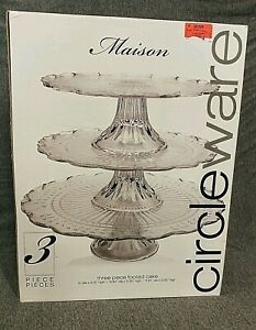 """3 TIER CIRCLEWARE CLEAR GLASS FOOTED CAKE STAND  9"""", 10"""", 12"""" NIB!"""