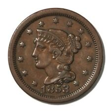 USA Large Cent 1c 1853  XF Brown