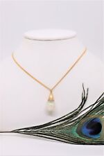 Vintage 14 k Yellow Gold Floating Opal Pendant Large Size