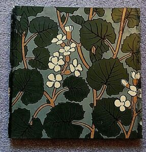 Antique Japanesque style large 8 inch tile depicting leaves and flowers 21/517S