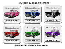 57' Chevy Sedan Chevrolet Set of 6 Rubber Drink Coasters