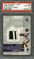 2001 sp game used authentic fabric #br DREW BREES saints rookie (pop 6) PSA 10