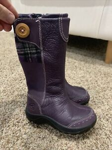 ❤️ KEEN Darby Purple Leather Mid Boots Size 8 US Sz 25 EU Little Girls Toddler