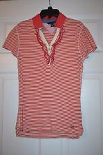 Tommy Hilfiger Women's Stripe Polo top with ruffle trim Size Small