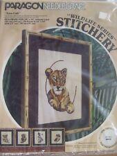Lot 4 Vintage Wildlife Cubs Series Paragon Needlecraft Lion Ocelot Leopard Tiger