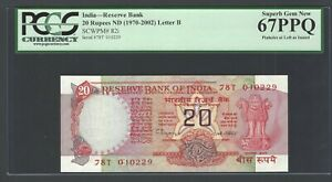 India 20 Rupees ND(1970-2002) P82i Letter B Uncirculated Graded 67