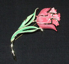 RARE VINTAGE SIGNED * CHAREL * LARGE ENAMEL SILVER TONE TULIP FLOWER PIN BROOCH
