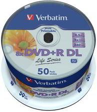 50 Verbatim Rohlinge DVD+R DL full printable Life Series 8,5GB 8x Spindel