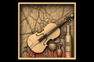 3D Model for CNC STL File Artcam Aspire Vcarve violin wine rose panno PK122