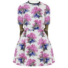 Caterina Gatta Pink Floral Short Sleeve Pleated Mini Sun Dress IT40 UK8