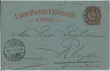CHILE - Postal Stationery : COLUMBUS COLOMBO -  from VALDIVIA to GERMANY  1885