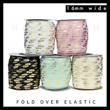 "Leaf Feather Gold Foil Fold Over Elastic FOE 5/8"" 16mm per metre volume discount"