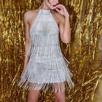 Women's Sexy Halter Backless Tassel Mini Dress Party Evening Cocktail Ball Gown